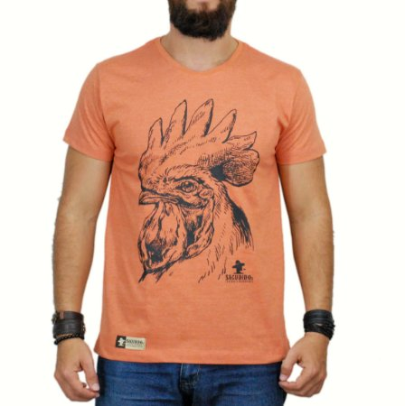 Camiseta Sacudido's - Galo - Laranja Mescla
