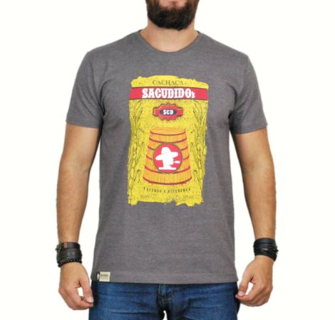 Camiseta Sacudido's - Barreiro - Marrom Mescla