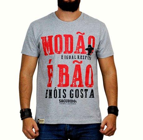 Camiseta Sacudido's - Modão é Bão - Cinza Mescla