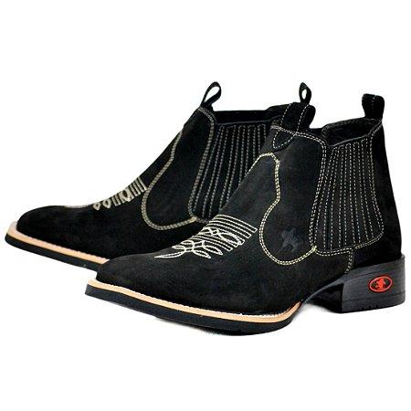 Bota Sacudido's Bico Quadrado Tradicional Preta
