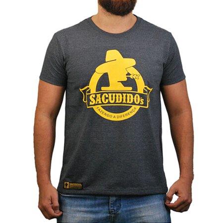 Camiseta Sacudido's - Logo Redondo - Chumbo