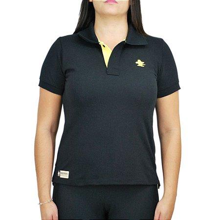 Camiseta Polo Feminina Sacudido's - Preta com Amarelo