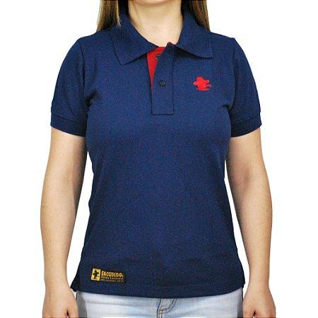 Camiseta Polo Feminina Sacudido's - Azul e Vermelha