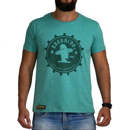 Camiseta Sacudido's - Engrenagem - Verde Mescla