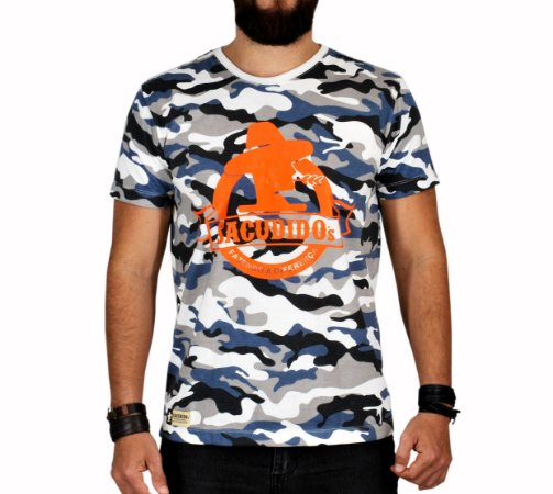Camiseta Sacudido's - Logo Redondo - Camuflada