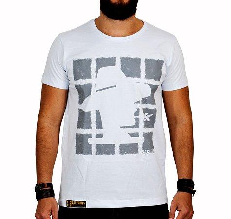 Camiseta Sacudido's - Quadrados - Branco e Cinza