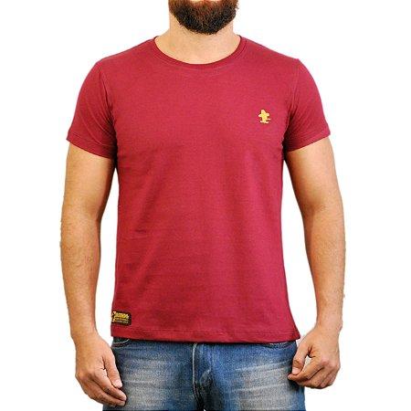 Camiseta Sacudido's Básica - Vinho e Amarelo