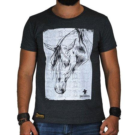 Camiseta Sacudido's - Cavalo Estilizado - Cinza Es