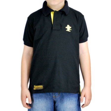 Camiseta Polo Infantil Unissex Sacudido's - Preta
