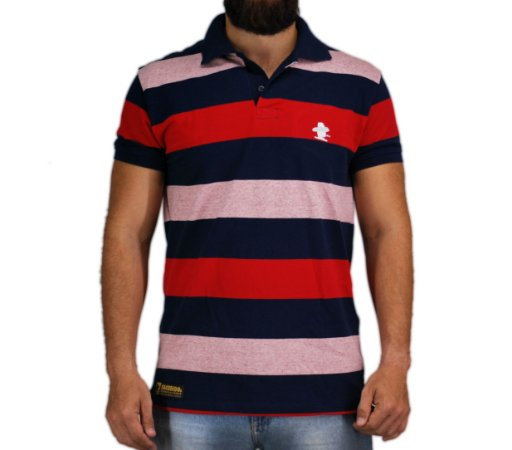 Camiseta Polo Granfino Sacudido's - Vermelho Azul e Rosa