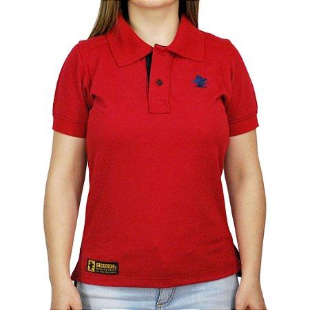 Camiseta Polo Feminina Sacudido's - Vermelha e Azul