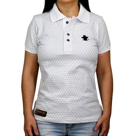 Camiseta Polo Feminina Sacudido's Elastano - Branca Floral