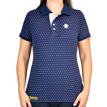 002170178bc12 Camiseta Polo Feminina Sacudido's Elastano - Azul Marinho - Sacudidos