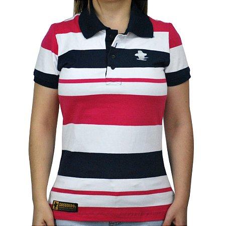 2029bc75ae Camiseta Polo Feminina Sacudido s Elastano Listrada - Branca