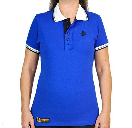 Camiseta Polo Feminina Sacudido's Elastano - Azul e Gola Branca