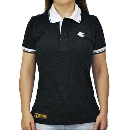 5496db219be22 Camiseta Polo Feminina Sacudido's Elastano - Preto e Gola Branca ...