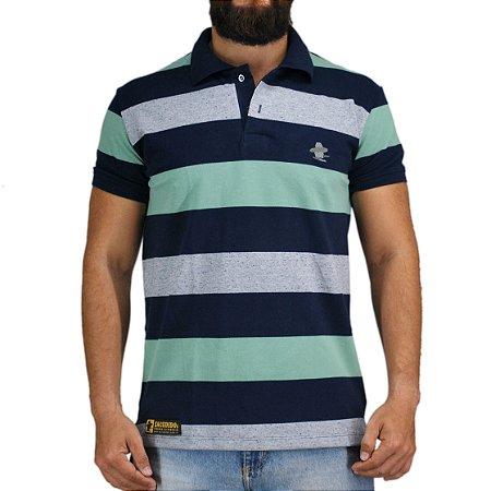 Camiseta Polo Granfino Sacudido's - Verde Azul e Cinza