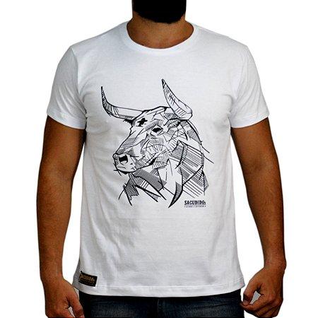 Camiseta Sacudido´s - Boi em Traços - Branca