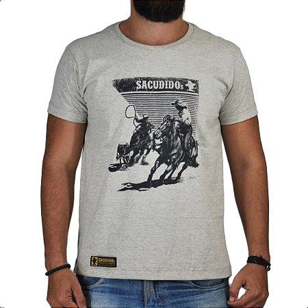 Camiseta Sacudido's - Laço em Dupla - Cinza Claro