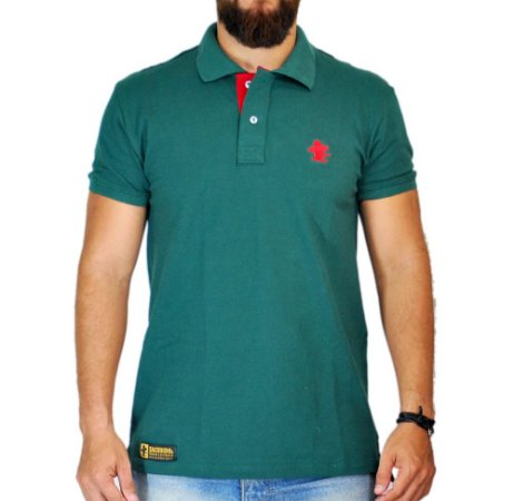 Camiseta Polo Granfino Lisa Sacudido's - Verde Musgo