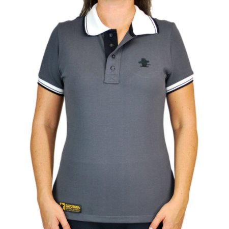 804789807d345 Camiseta Polo Feminina Sacudido's Elastano - Chumbo Gola Branca ...