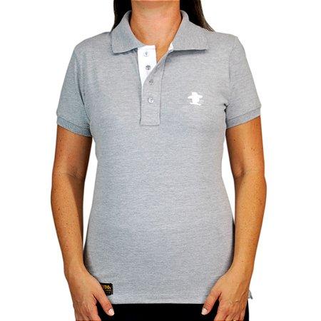 Camiseta Polo Feminina Sacudido's Elastano - Cinza Lisa