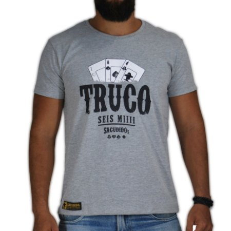 Camiseta Sacudido's Truco - Cinza Mescla