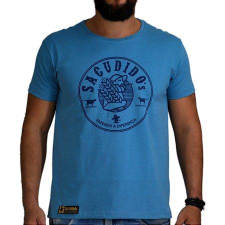 Camiseta Sacudido's - Agricultor - Azul Mescla