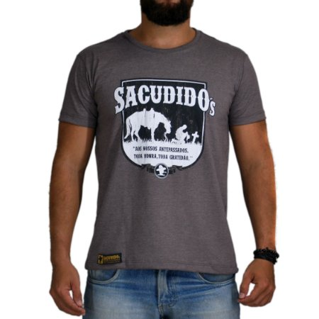 Camiseta Sacudido's Antepassados - Mescla Café