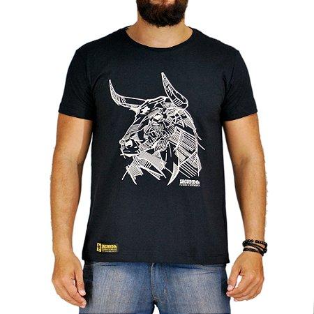 Camiseta Sacudido's Boi em Traços - Preto