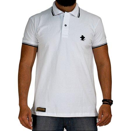 Camiseta Polo Sacudido's Elastano -Branca Gola Listras Preta