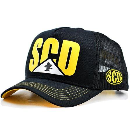 Boné Sacudido's Trator - Preto Silk Amarelo