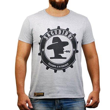 Camiseta Sacudido's Engrenagem Nova - Cinza Mescla