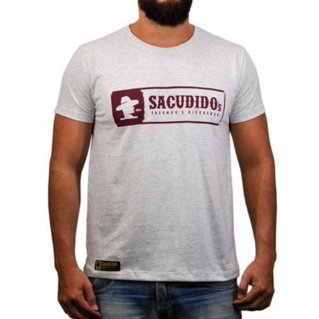 Camiseta Sacudido's Logo Etiqueta - Cinza Mescla