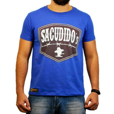 Camiseta Sacudido's - Etiqueta Arame - Azul