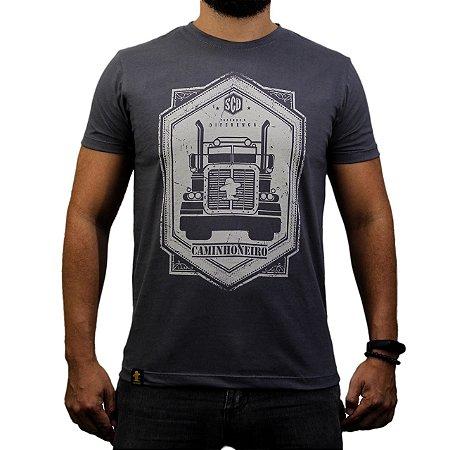 Camiseta Sacudido's - Caminhoneiro - Chumbo Mescla