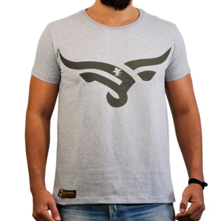 Camiseta Sacudido's - Boi Estilizado - Cinza Mescla e Marrom