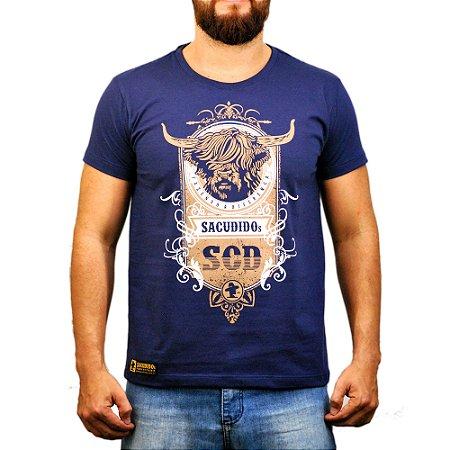 Camiseta Sacudido's - Boi Pêlo Longo - Marinho