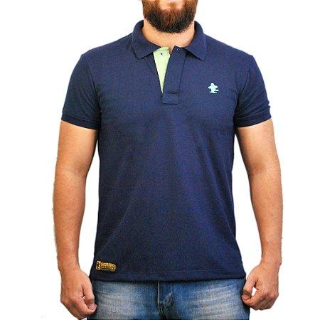 Camiseta Polo Sacudido's - Azul Marinho e Verde