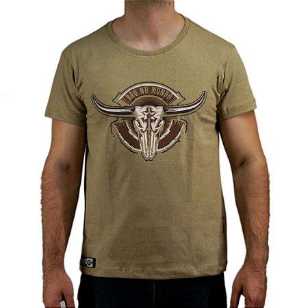 Camiseta Bão Nu Mundo - Caveira de Boi - Kaki