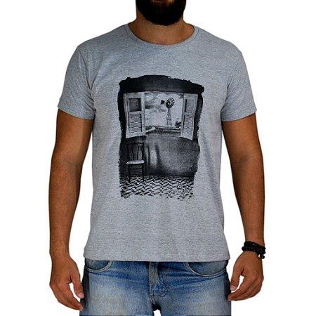 Camiseta Bão Nu Mundo - Paisagem - Cinza Mescla