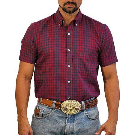 Camisa Manga Curta Sacudido's Xadrez - Vermelho e Marinho