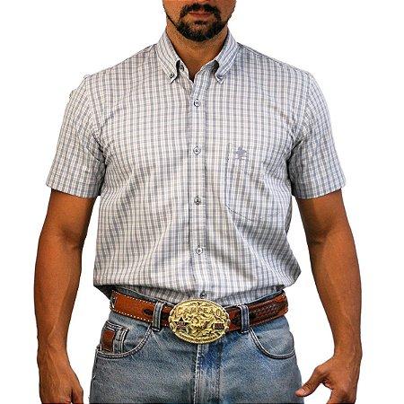 Camisa Manga Curta Sacudido's Xadrez - Cinza