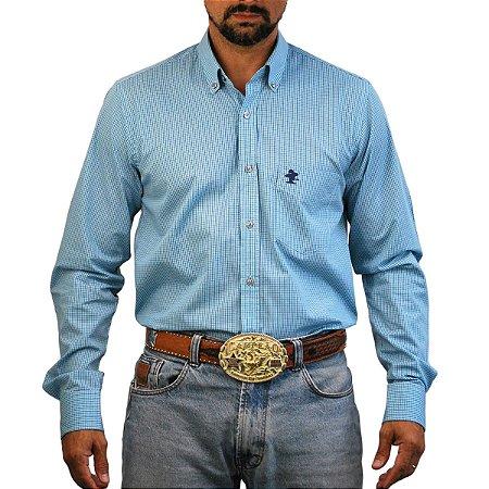 Camisa Manga Longa Sacudido's Xadrez - Azul Mini