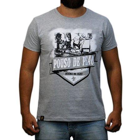 Camiseta Sacudido's - Queima do Alho - Cinza Mescla