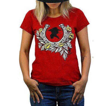 Camiseta Sacudido's Feminina -Ferradura - Vermelho