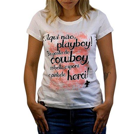 Camiseta Sacudido's Feminina - Aqui Não - Natural