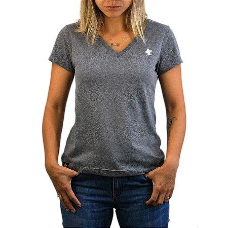 Camiseta Sacudido's Feminina Básica - Cinza Escuro
