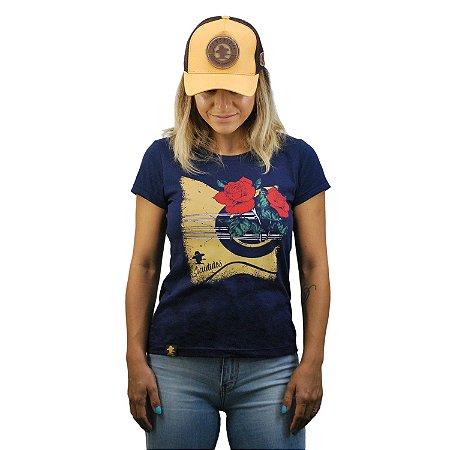 Camiseta Sacudido's Feminina Viola e Rosas-Marinho