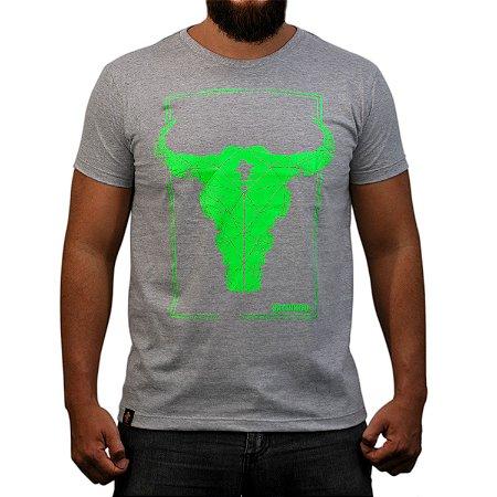 Camiseta Sacudido's - Boi Geométrico - Cinza Mescla